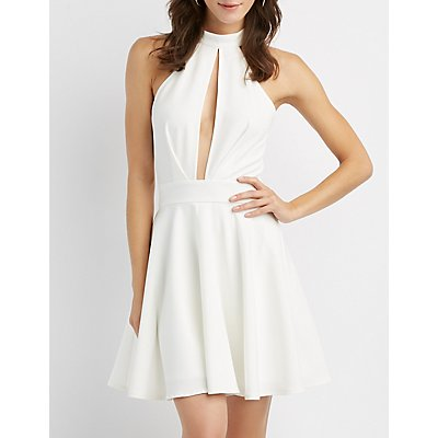 Mock Neck Cut-Out Skater Dress