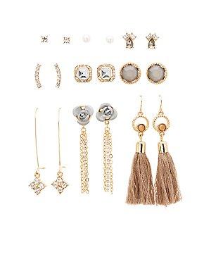 Embellished Stud & Tassel Earrings - 9 Pack