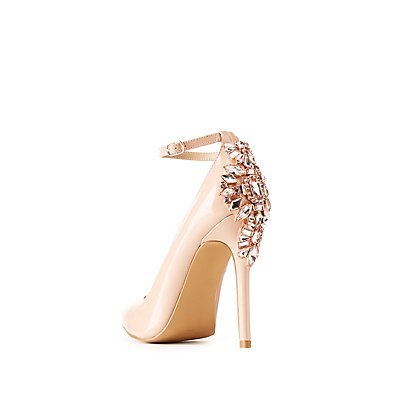 Patent Crystal Embellished Ankle Strap Pointed Toe Pumps