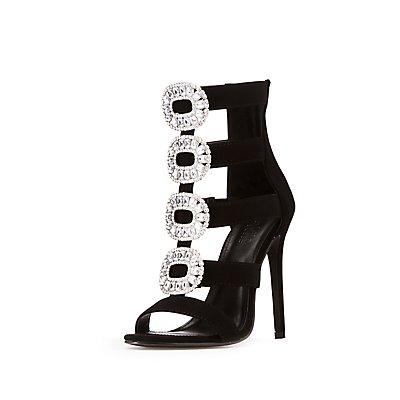 Crystal Embellished Caged Dress Sandals