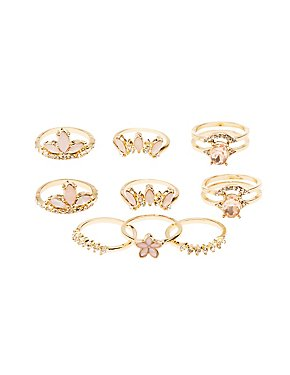 Embellished Stackable Cocktail Rings - 9 Pack