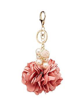 Faux Pearl Flower Key Chain