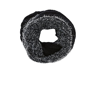 Two-tone Eyelash Sweater Knit Infinity Scarf