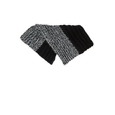 Two-tone Eyelash Sweater Knit Infinity Scarf