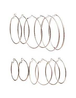 Textured Hoop Earrings - 5 Pack