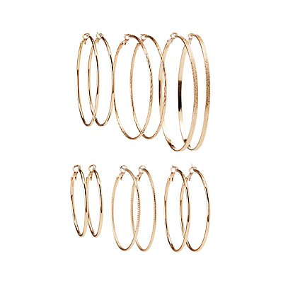 Textured Hoop Earrings - 5 Pack at Charlotte Russe in Cypress, TX | Tuggl