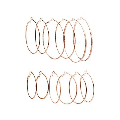 Textured Hoop Earrings - 5 Pack