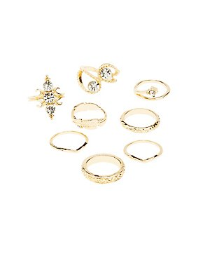 Boho Crystal Stackable Cocktail Rings - 8 Pack