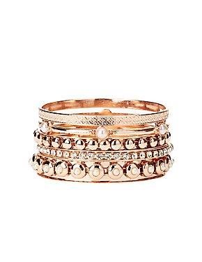 Embellished Stackable Bangle Bracelet - 5 Pack