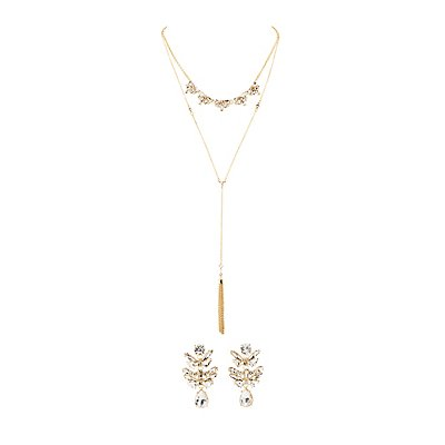 Crystal Chandalier Earrings & Larit Necklace Set