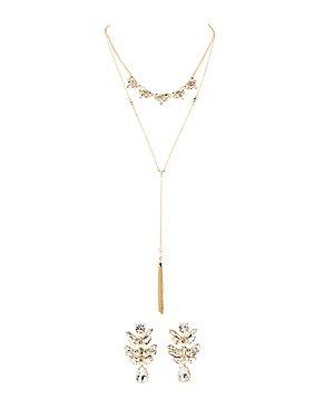 Crystal Chandalier Earrings & Larit Necklace Set