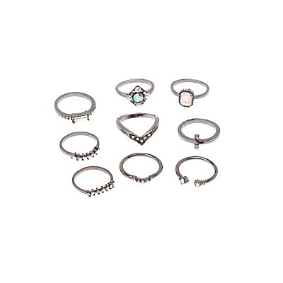 Embellished & Textured Stackable Rings - 9 Pack
