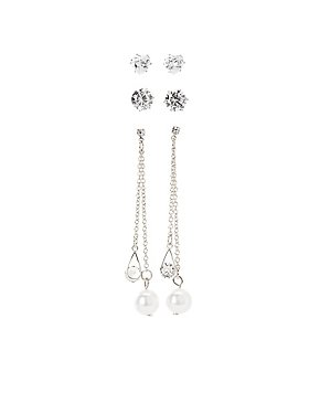 Faux Pearl & Crystal Earrings - 3 Pack