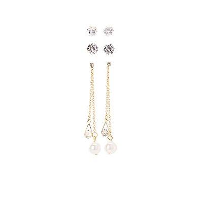 Faux Pearl & Crystal Earrings - 3 Pack