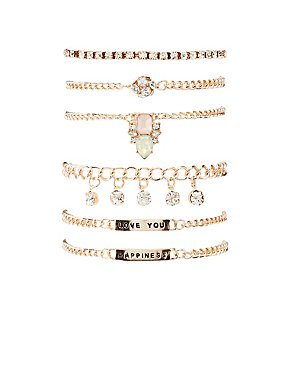 Happiness Embellished Armparty Bracelets - 6 Pack
