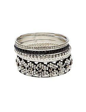 Embellished Stackable Bangle Bracelet - 5 Pack
