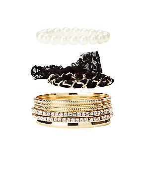 Embellished Bangle Bracelets - 8 Pack