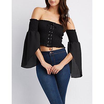 Lace-Up Smocked Off-The-Shoulder Crop Top