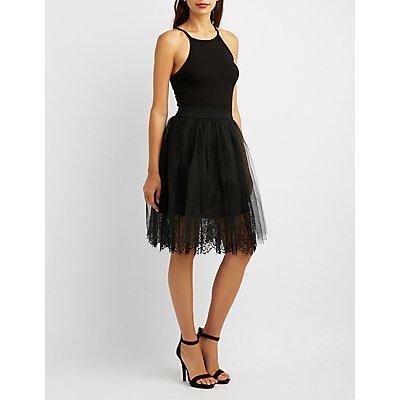 Tulle Lace Midi Skirt