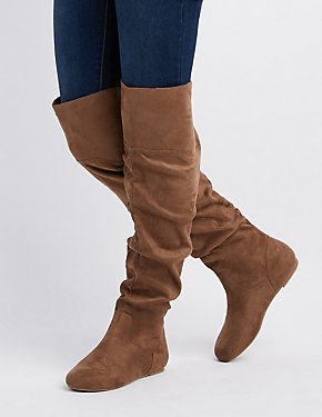 Faux Suede Over-The-Knee Block Heel Boots