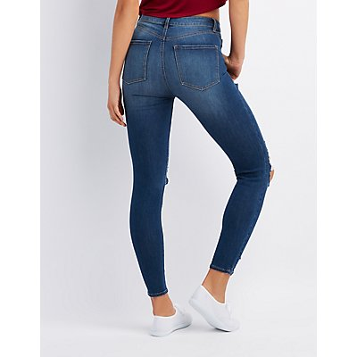 Refuge Destroyed Hi-Rise Legging Jeans