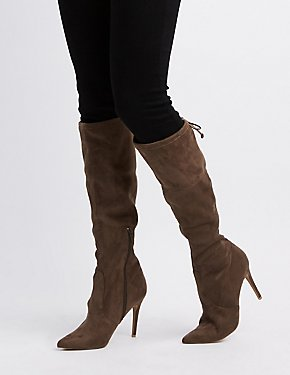Tie-Back Pointed Toe Boots