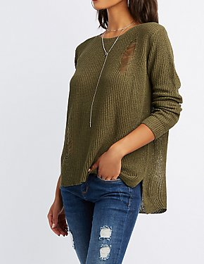 Destroyed Open-Knit Pullover Sweater