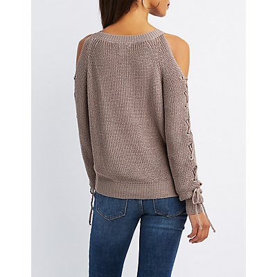 Lace-Up Cold Shoulder Sweater