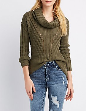Ribbed Cowl Neck Pullover Sweater