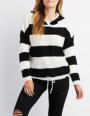 Hooded Striped Pullover Sweater