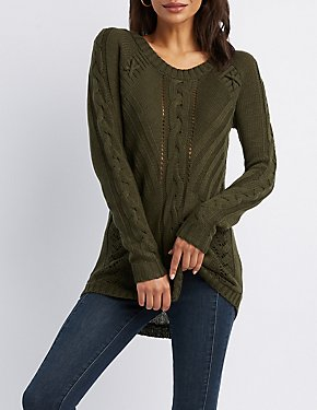 Mixed Knit Pullover Tunic