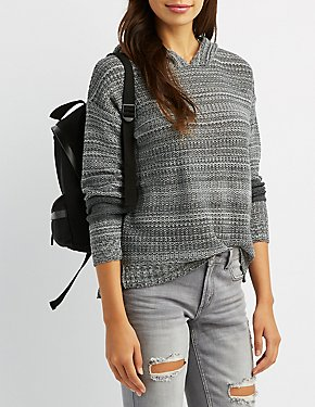 Hooded Striped Shaker Stitch Sweater