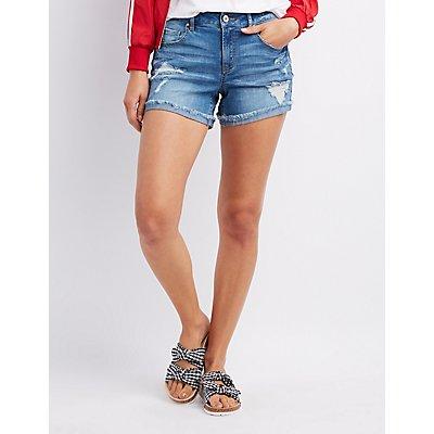 Refuge Girlfriend Destroyed Denim Shorts