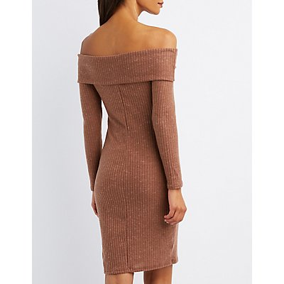 Ribbed Knit Off-The-Shoulder Bodycon Dress