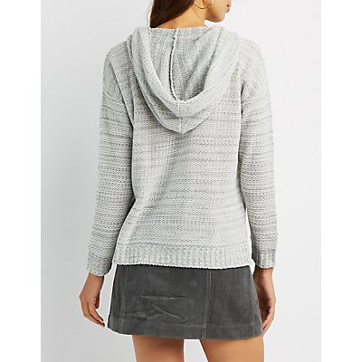 Hooded Pullover Shaker Stitch Sweater