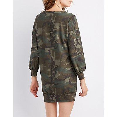 Camo Long Sleeve Sweater Dress