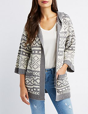 Patterned Open-Front Boyfriend Cardigan