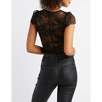 Lace Caged Cap Sleeve Bodysuit