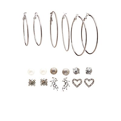 Embellished Hoop & Stud Earrings - 9 Pack