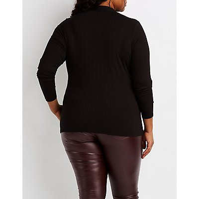 Plus Size Ribbed Lattice-Front Top