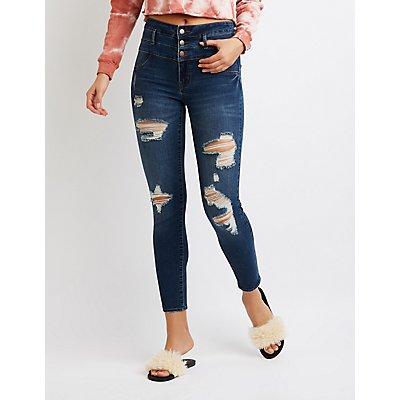 Refuge High Waist Destroyed Skinny Jeans