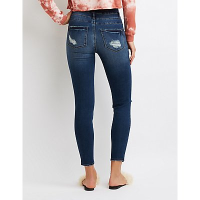 Refuge High Waist Destroyed Skinny Jeans