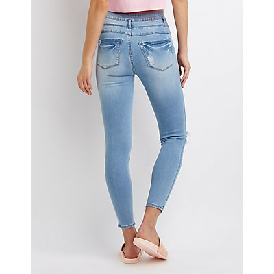 Refuge High Rise Step Hem Destroyed Skinny Jeans