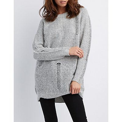 Distressed Shaker Stitch Tunic Sweater