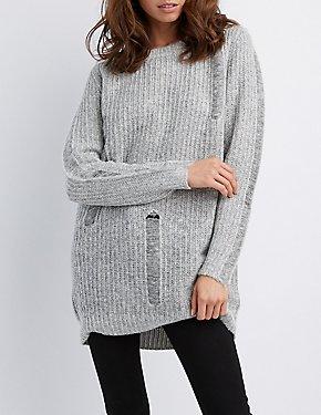 Distressed Shaker Stitch Tunic Sweater