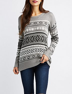 Geometric Patterned Pullover Sweater