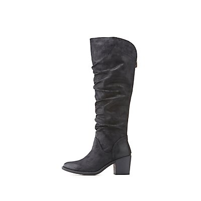Qupid Ruched Riding Boots