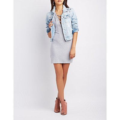 Lace-Up V-Neck Shirtdress