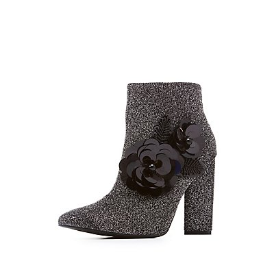 Qupid Embellished & Glitter Pointed Toe Booties