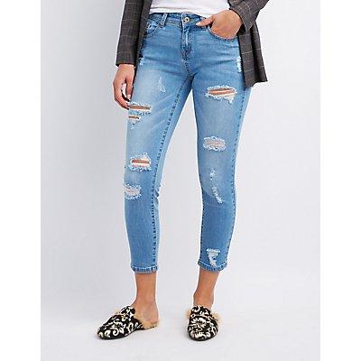 Destroyed Crop Skinny Jeans